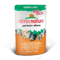 "Almo Nature Паучи 75% мяса для Кошек ""Филе Тунца с Курицей"" (Green label Raw Pack Cat Chicken and Tuna Fillets)"